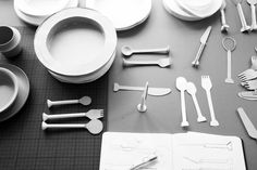 S T A M P, MODELS, PAPERMODELS, SCALEMODELS, CUTLERY, DISHES, BAMBOO, 8pandas
