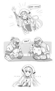 Get it because the goblin slayer on the left and the doom slayer on the right Anime Crossover, Anime Comics, Character Art, Character Design, Fan Art Anime, Corpse Party, Mini Comic, Short Comics, Gaming Memes