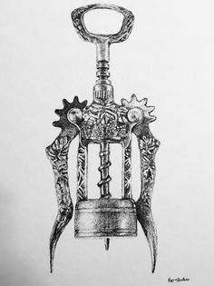 Old fashioned wine corkscrew drawing. Pen and ink on watercolor paper.