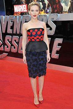 Scarlett Johansson: peplum, floral, Prada. Well done.