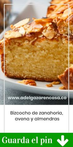 Bizcocho de zanahoria, avena y almendras - Adelgazar en casa, Just Cakes, Cakes And More, Healthy Desserts, Dessert Recipes, Vegan Recipes, Cooking Recipes, Vegan Food, Vegan Pastries, Almond Cakes