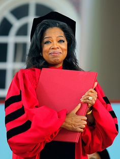 showbizmybiz:  Oprah received an honorary doctorate from Harvard last week…  she earned her first degree from Tennessee State University in speech and performing arts (1976). Considering her life prior to the Oprah Winfrey Show, I'd be tearing up too if I got one of these.
