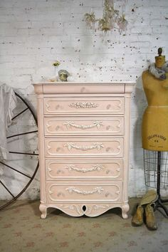 Painted Cottage Chic Shabby Romantic French Dresser / Chest CH889