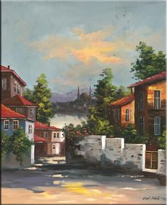 Scenery Paintings, Landscape Paintings, Oil Paintings, Turkish Art, Z Arts, Beautiful Places To Travel, Old Houses, Diorama, Home Art