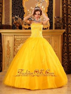 Cheap Yellow Quinceanera Dress Spaghetti Straps Beading Satin and Tulle Ball Gown  http://www.fashionos.com  Are you joining in the party? Do you want to be the focus point? But now, the chance is coming for this elegant yellow quinceanera dress. The fitted bodice heavily embellished with shining beading and rhinestones accentuates your curve perfectly.