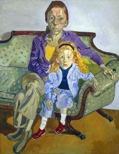 Alice Neel -  Linda Nochlin and Daisy, 1973,  Oil on canvas, 141 x 111.8 cm