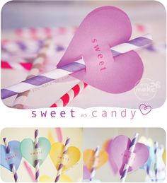 ♥ Make CUSTOMIZABLE sweet heart toppers with valentine printables. Put them on paper straws for valentine parties (or sweet shop parties)! Snip your paper straws in half to use these printables as cake or cupcake toppers too! Classroom Birthday, 1st Birthday Parties, Valentines Day Party, Valentine Day Crafts, Heart Party, Candy Party, Paper Straws, Diy Party, Party Ideas