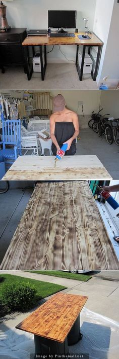 Use a blow torch to create a duo-tone effect on wood. Lay the torch at such an angle that the flame licks across the surface as you move horizontally. After that, wipe it down with a wet cloth and start the staining process. Assemble the legs and the shelves, place a glass top over it, and you're done!