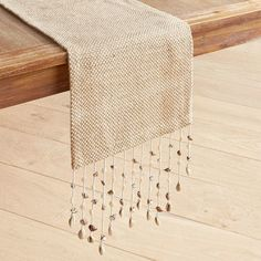 Table Runners : Table Linens - Natural Jute Table Runner with Seashell Fringes ~ Transport your tablescape with our handcrafted jute table runner, finished with a natural seashell fringe for a laid-back beach vibe. Dining Table Cloth, Table Linens, Ribbon Embroidery, Embroidery Designs, Table Covers, Home Textile, Jute, Table Runners, Diy And Crafts