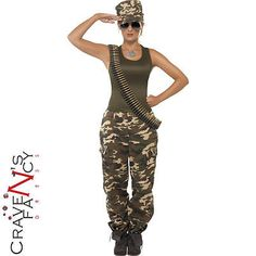 Army girl costume khaki camo #soldier #uniform fancy dress #outfit womens 4 - 18, View more on the LINK: http://www.zeppy.io/product/gb/2/182180355028/