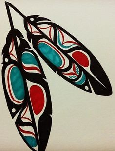 Haida Eagle Feathers - Black by on can find Haida art and more on our website.Haida Eagle Feathers - Black by on Haida Kunst, Inuit Kunst, Haida Art, Inuit Art, Native American Symbols, Native American Design, Native Design, American Indian Art, Native American Paintings