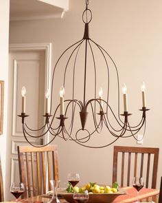 French Country Chandelier, Natural Rust