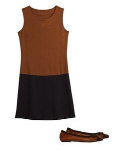 robe bicolore de u collection et ballerines de besson chaussures