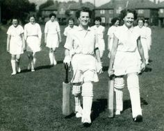 Women's Cricket Ninety-seven for five - and Bolton declare. Dorothy Pilling, who also plays for the county eleven, and Doreen Howarth return to the pavilion with the Preston fielders. Year: 1956