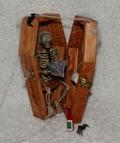 "Dollhouse Haunted Miniature Wood Coffin Skeleton Outhouse-OOAK-6"" MINI-Artist"