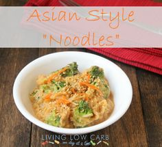 "Asian Style ""Noodles"" (Low Carb and Paleo)  2 cup cooked spaghetti squash (or zucchini noodles) 1 cup broccoli florets 2 Tbsp matchstick sliced carrots 1 cloves garlic, minced 2 Tbsp almond butter 3 Tbsp coconut aminos (an soy free soy sauce) 1 Tbsp Red Boat fish sauce Juice of 1 lime"