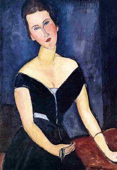 Amedeo Modigliani (Italian, 1884-1920): Madame Georges van Muyden, 1917. Oil on canvas, 92 x 65 cm. Museu de Arte, Sao Paulo, Brazil.