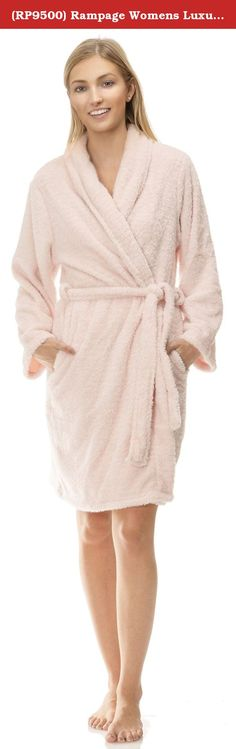 "(RP9500) Rampage Womens Luxurious Super Plush Bath Robe in Lt. Pink Size: One Size. <b>LUXURIOUS PLUSH</b> - Ultra soft and thick 100% Polyester. ADDED SPARKLE - Lurex threads lightly distributed for extra flair. A PLACE FOR YOUR HANDS AND STUFF - Side slit pockets for a slimming look. GENEROUS FIT - 38"" Legnth and full wrap around for a great one size fits all robe. GREAT GIFT - One size fits all, luxurious plush fabric and a bit of dazzle makes for an easy gift choice."