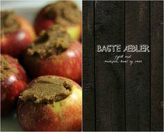 BAGTE ÆBLER – fyldt med marcipan, kanel og smør  4 pers.