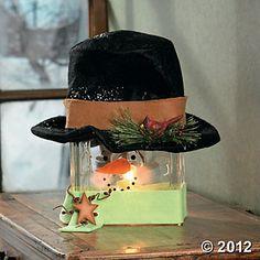 Snowman Glass Block Lamp