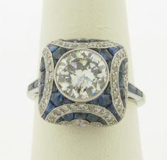 Art deco ring. 1.86ct, K, Si2. Art Deco Diamond, Art Deco Ring, Art Deco Jewelry, Fine Jewelry, Jewellery, Diamond Face, Platinum Diamond Rings, Diamond Cuts, Antique Rings