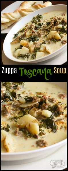 This Zuppa Toscana Soup Olive Garden Copycat is actually better than the original!  It has a creamy both base and is loaded with sausage and potatoes.