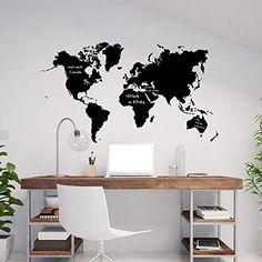 Film tableau motif carte du monde continents du monde World Notes termine souvenirs de vacances messages Film adhésif Carte Map Décoration…