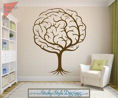 Abstract Brain Tree Decal - Neurology Neuroscience Psychology Medical Doctor Vinyl Wall Art Graphic Design Sticker Transfer Applique #T037