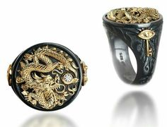 Men's Fashion Black and Gold Dragon Ring w/ Gemstone Dragon Jewelry, Skull Jewelry, Jewelry Rings, Jewelry Accessories, Jewelry Design, Jewellery, Dragon Ring, Gold Dragon, Estilo Cool