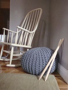 painted white rocking chair + grey knitted pouf