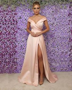 Sale Outstanding Short Party Dress 2018 Blush Pink Satin Prom Dresses With Split Off The Shoulder Long Prom Gowns For Party Pink Party Dresses, Party Gowns, Satin Dresses, Pink Dress, Dress Up, Nude Dress, Jumper Dress, Midi Dresses, Prom Party