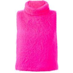 MSGM Sleeveless Turtle Neck Sweater ($441) ❤ liked on Polyvore featuring tops, sweaters, sweaters 2, sleeveless turtleneck, pink turtleneck sweater, turtle neck tops, polo neck sweater и no sleeve sweater