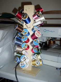 Vertical Thread Storage - would add it to a lazy susan so it would turn.