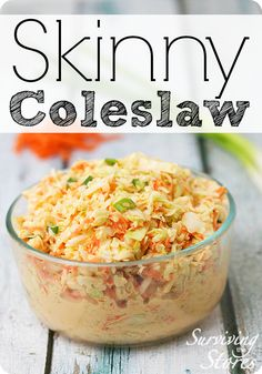 Skinny coleslaw is the perfect accompaniment for your next low carb meal. The touch of cayenne and fresh garlic give it a spicy kick! Skinny Recipes, Ww Recipes, Low Carb Recipes, Great Recipes, Cooking Recipes, Favorite Recipes, Healthy Recipes, Delicious Recipes, Healthy Snacks