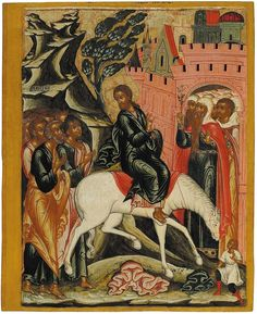 The Entry of Our Lord into Jerusalem, from the Feasts tier, ca. 1670. Tempera on wooden panel. 73.6 x 60 x 4 cm. Yaroslavl Art Museum, Yaroslavl, Russia.
