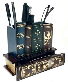 Pen Pencil Holder Reading Glass Organizer with Bottom Drawer Library Books Design Wooden Office Supply Caddy Diy Arts And Crafts, Book Crafts, Book Furniture, Envelope Book, Hogwarts Christmas, Harry Potter Room, Fancy Fold Cards, Book Lovers Gifts, Book Projects