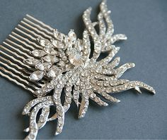 wedding bridal crystal silver hair comb