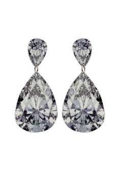 Alice Euphemia —Printed Pear Diamond Earrings