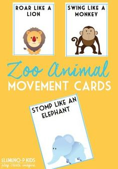 These Zoo Animal Movement Cards can be added to any collection of fun zoo activities for preschoolers. Perfect for getting your preschool child or students moving just like their favorite zoo animals! Zoo Activities Preschool, Preschool Jungle, Zoo Animal Crafts, Animal Activities For Kids, Preschool Activities, Music Activities For Preschoolers, Physical Activities For Toddlers, Motor Activities, Therapy Activities