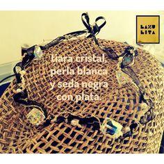 Tiara cristal, perla blanca mallorquina, seda negra y plata