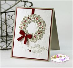 Stampin Up Wondrous Wreath card by Sandi @ www.stampingwithsandi.com