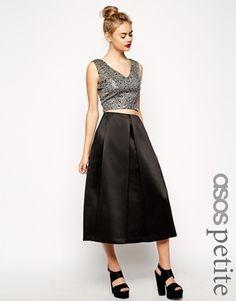 ASOS Petite ASOS PETITE Premium Satin Midi Skirt - Black