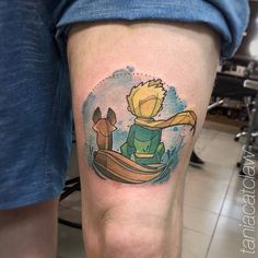 The Little Prince inspired tattoo on the left thigh.