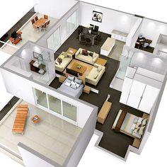floor plan by Arplans - Wikide Interior Design Living Room, Living Room Designs, Tiny Loft, Archi Design, Home Design Plans, Design Case, Amazing Architecture, House Floor Plans, Layout