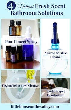 Today I am so excited to share my favorite four natural fresh scent bathroom solutions. In a house of boys, bathrooms are one of my least favorite rooms to clean.
