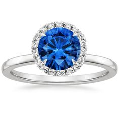 Blue Sapphire Vienna Engagement Ring - 18K White Gold