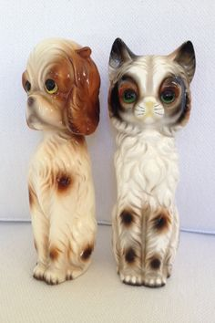 Mid Century Dog and Cat Ceramic Figurines by MayaVintage on Etsy, $12.00