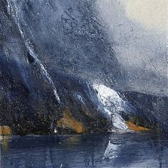 Ørnulf Opdahl: Fjord studie, 30 x 30 cm Abstract Landscape Painting, Abstract Nature, Seascape Paintings, Nature Paintings, Landscape Art, Landscape Paintings, Abstract Art, River Painting, Alternative Art