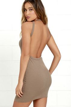 Give them something to stare at with the Flaunt What You Got Brown Backless Bodycon Dress! Ribbed knit shapes this figure-flattering dress with a high, halter neckline, while minimalist straps showcase the sultry open back.  | Shop @ Collectivestyles.com