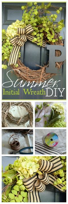 SUMMER INITIAL WREATH DIY-Easy to make and perfect for your summer front door-stonegableblog.com
